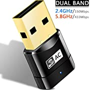 Heiyo Wireless Internet WiFi Dongle, 2.4G/150Mbps+5G/433Mbps USB Network Adapter PC Laptop Desktop for Windows XP/7/8/8.1/10│Linux 4.2/4.3/4.4