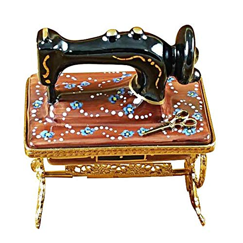 SEWING MACHINE W/STAND - LIMOGES BOX AUTHENTIC PORCELAIN FIGURINE FROM FRANCE