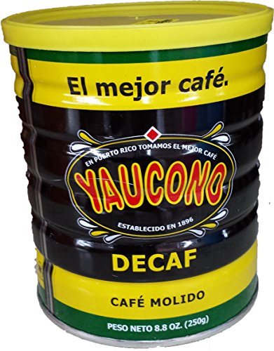 Yaucono Decaf Ground Coffee 8.8 Ounce Canister (Pack of 6)