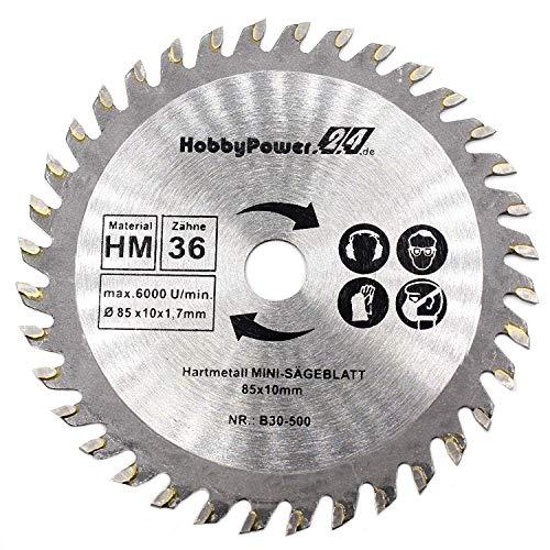 1 mini hoja de sierra circular de corte de madera Ø 85 x 10 mm 36T para Einhell TC-CS 860 / BT-CS 860