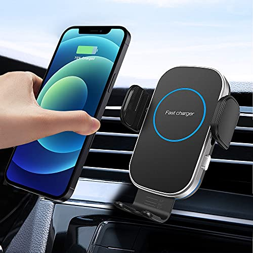 車載ワイヤレス充電器 車載ホルダー15W急速充電 車載Qi スマホホルダー 自動開閉 360度回転 片手操作 エアコン吹き出し口用 iPhone 12/12 Pro/12Pro Max/se2/11/11 Pro /11Pro Max/XS/XS Max/XR/X / 8 / 8 Plus Android Samsung Galaxy S20 S10/S10+ S9/S9 Plus Note9 Note8 S8、Xperia XZ3 Qi規格または全機種(4.0-7.0インチ)対応 日本語説明書付き (Black)