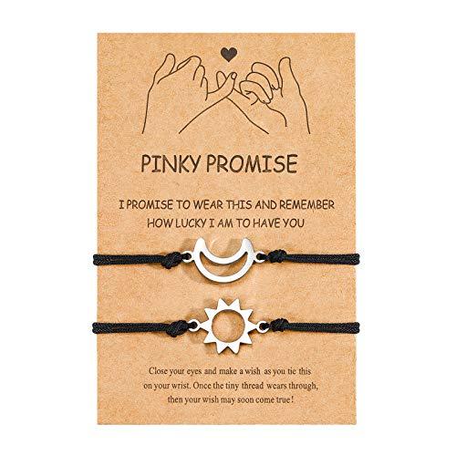 Pulsera ajustable para parejas, de UNGENT THEM Pinky, para parejas, mejores amigos, amistad, para novio y novia, él y ella, para mujeres, hombres, hombres, adolescentes y niñas.