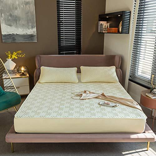 FJMLAY Sábana Bajera Ajustable elástica,Sábanas de Cama Acolchadas cepilladas, protección Antideslizante para el apartamento del Dormitorio-Yellow_3_200cmx220cm