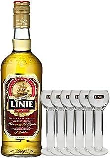 Linie Aquavit Lysholm Double Cask Norwegen 0,7 Liter  6 Gläser 2cl mit Aufschrift