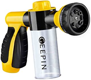 GEEPIN; Garden Hose Nozzle Sprayer - Pistol Grip Trigger. 8 Adjustable Pattern, Can Independently Open or Closed Foam Storage, Watering Plants & Lawn, Car Washing, Patio, Dog & More.