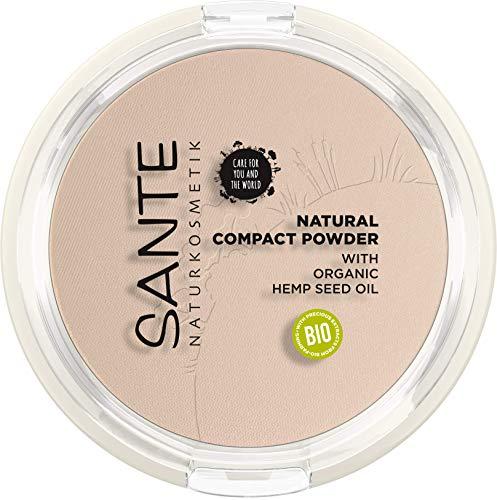 SANTE Naturkosmetik Natural Compact Powder 01 Cool Ivory, ideal für helle Hauttöne, mattiert und fixiert langanhaltend, für einen natürlichen Glow, mit Bio-Hanfsamenöl, Vegan, 9g