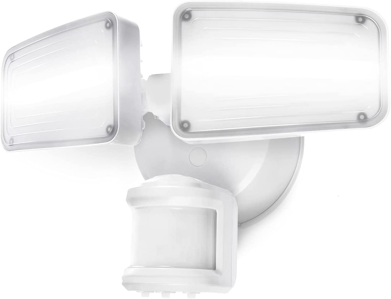 Home Zone Security Dual Brightness Motion Sensor Light - Outdoor Weather Resistant LED Twin Head 5000K Security Light with Standby Halo Light and Easy Connect Back Panel, White