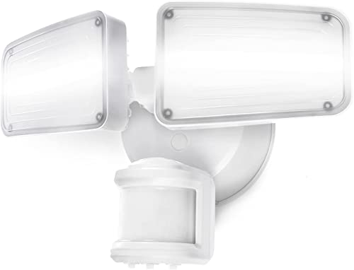 new arrival Home Zone Security Dual Brightness Motion Sensor Light online sale - Outdoor Weather Resistant LED Twin Head 5000K outlet sale Security Light with Standby Halo Light and Easy Connect Back Panel, White online sale