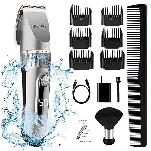 - 51v6gf7RaAL - NEWPEER Hair Clippers for Men Cordless Hair Clippers Beard Trimmer Professional IPX7 Waterproof USB Rechargeable Hair Cutting Kit with Neck Duster LED Display