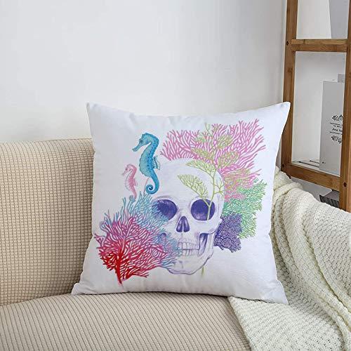 Fundas de cojines sencillas y clásicas de 45 x 45 cm,Animal, cabeza de esqueleto de calavera de Halloween con a,ideales para casa, oficina o para la espalda en el coche - Fundas de Poliéster para sofá