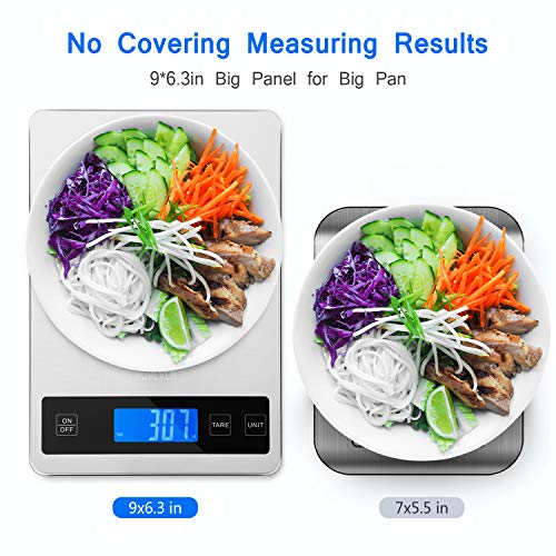 Product Image 5: Kitchen Scale, Homever 15kg Food Scale with 9 X 6.3in Big Panel, Stainless Steel Digital Kitchen Scale with 1g Accuracy and Back-lit LCD Display.