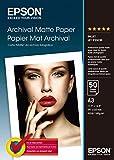 Epson Archival Matte Paper, Papel para fotocopiadoras A3 (297 x 420 mm), 189g/m2, 50 hojas