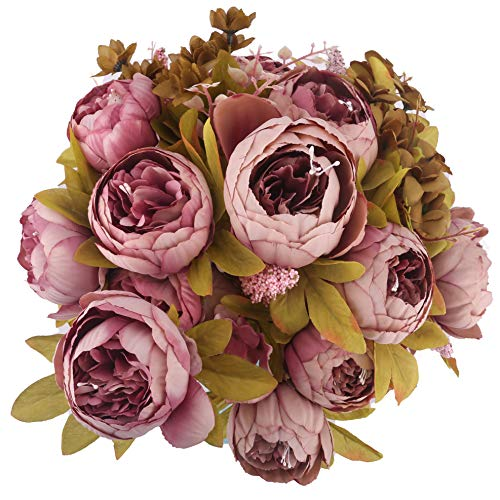 BOMAROLAN Vintage Artificial Peony Bouquet Silk Wedding Flowers, Pack of 2 Fake Flowers Home Party Festival Decoration(Sweetened Bean)