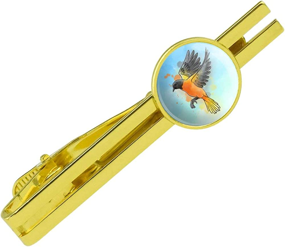 GRAPHICS & MORE Baltimore Oriole Watercolor Northeastern Bird Round Tie Bar Clip Clasp Tack Gold Color Plated