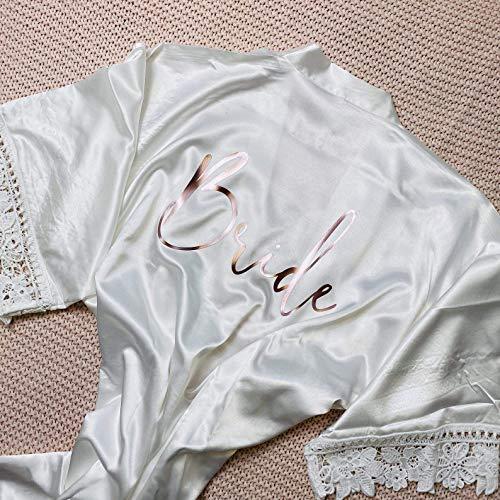 Morgenmantel Bademantel Hochzeit Brautkimono weiß Spitze Bordüre auch personalisiert