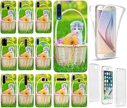 KX-Mobile - Funda para teléfono móvil, diseño de gato 1151, color blanco, gris y verde, funda premium de silicona Fullbody 360 grados de protección