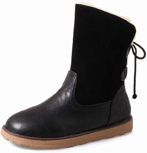 ZHRUI Stiefel para damen - Stiefel Gruesas de esquí de Invierno Gruesas Stiefel de Cuero Stiefel Planas para Estudiantes 35-43 (Farbe   schwarz, tamaño   39)