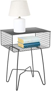 mDesign Modern Farmhouse Side/End Table - Solid Metal Design - Open Storage Shelf Basket, Hairpin Legs - Sturdy Vintage, Rustic, Industrial Home Decor Accent Furniture for Living Room, Bedroom - Gray
