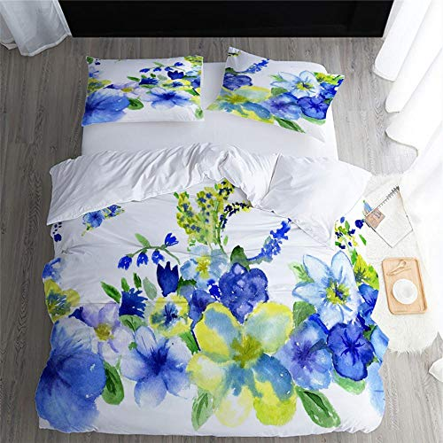 Tanboank Duvet Cover Set Easy Care Soft Bedding Duvet Cover With Pillowcases 3 Pieces Lightweight Microfiber with Zipper Closure flower Double 200x200cm