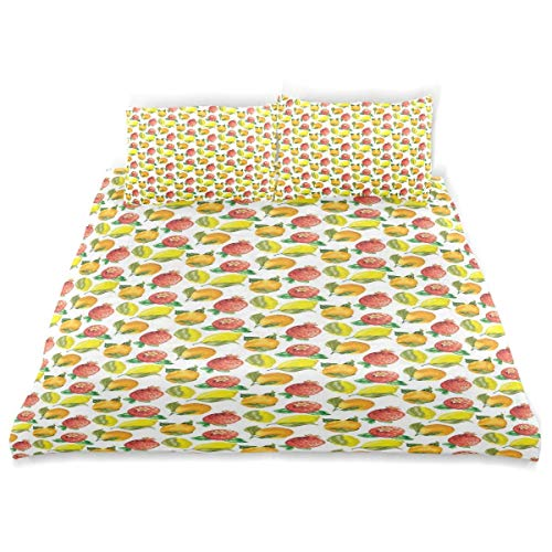 Qoqon Duvet Cover Set Vitamin C Pattern of Seasonal Orange Pomegranate Lemon Decorative 3 Piece Bedding Set with 2 Pillow Shams