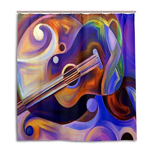 CPYang Duschvorhang, abstrakte Kunst Musik Note Gitarre Wasserdicht Schimmelresistent Badvorhang Badezimmer Home Decor 168 x 182 cm mit 12 Haken