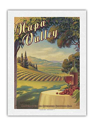Napa Valley, California - País del vino - Calistoga, Santa Elena, Rutherford, Yountville, Napa - Póster Viajes de Kerne Erickson - Impresión de Arte Papel Premium de Arroz Unryu 61x81cm