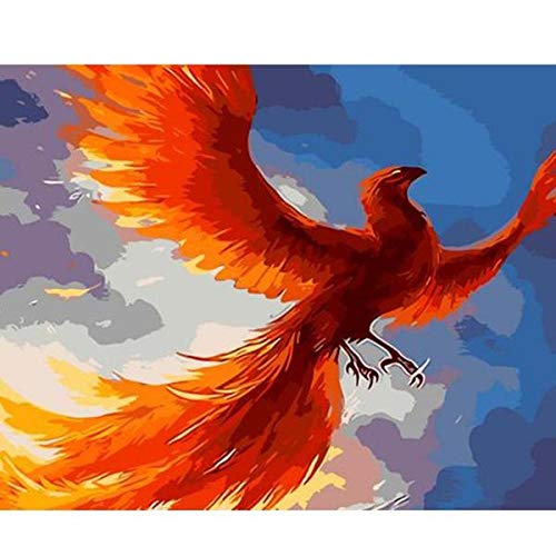 Oil Painting-Paint by Numbers for Adults Red Phoenix Paint Brushes and Acrylic Pigment for Kids & Adults Beginner Home Decoration16 X 20 Inchframeless