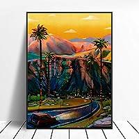 モダンアートの壁の装飾カリフォルニア南キャンバス絵画アートプリントポスター写真の壁モダンミニマリストの寝室のリビングルームの装飾-30x40cmフレームなし