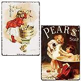 LIPTOR Wandschilder für Mädchen, Waschkleidung, Birnen, Seife, Vintage-Stil, für Badezimmer,...
