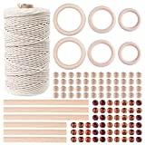 TUPARKA 109 Yadrs 3mm Natural Macrame Cord with 100 Pcs Wood Beads(2 Different Designs) 6pcs Wood Ring and 6pcs Wooden Stick for Crafts,DIY Plant Hangers