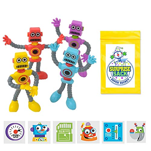 12 Bendable Robots & 72 Kid's Temporary Robot Tattoos (Great Boys Birthday Party Favors for Kids, Goodie Bag Stuffers, Return Gifts For Kids Birthday & Robot Party Supplies)