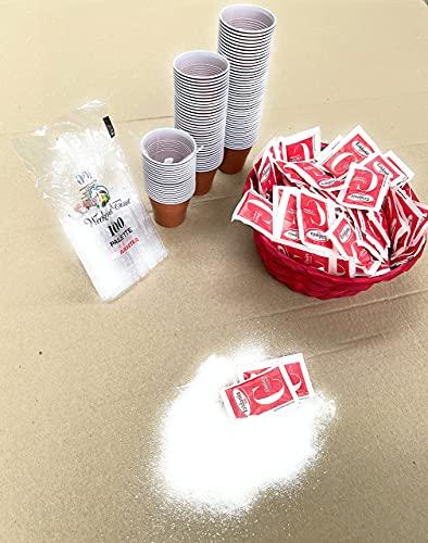 Zucchero - 150 Bustine Di Zucchero Eridania Semolato Classico 1000g + 100 Bicchierini Bicolore di Plastica per Caffè 80cc + 100 Palettine in Plastica + Cestino Rosso In Rattan Ø20cm