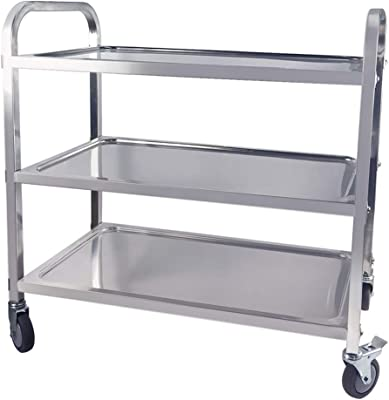 TAIMIKO Utility Cart, Stainless Steel 3-Shelf Kitchen Trolley for Restaurant Catering Kitchen Up to 300 lbs Capacity, Stainless Steel Carts Four Sizes for Your Choose (L33.5W17.7H35.4'') …