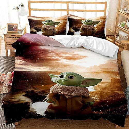 Juego de ropa de cama Master Yoda, diseño de Star Wars, juego de ropa de cama de 3 piezas, evita alergias para niños, funda nórdica de microfibra, 2 fundas de almohada