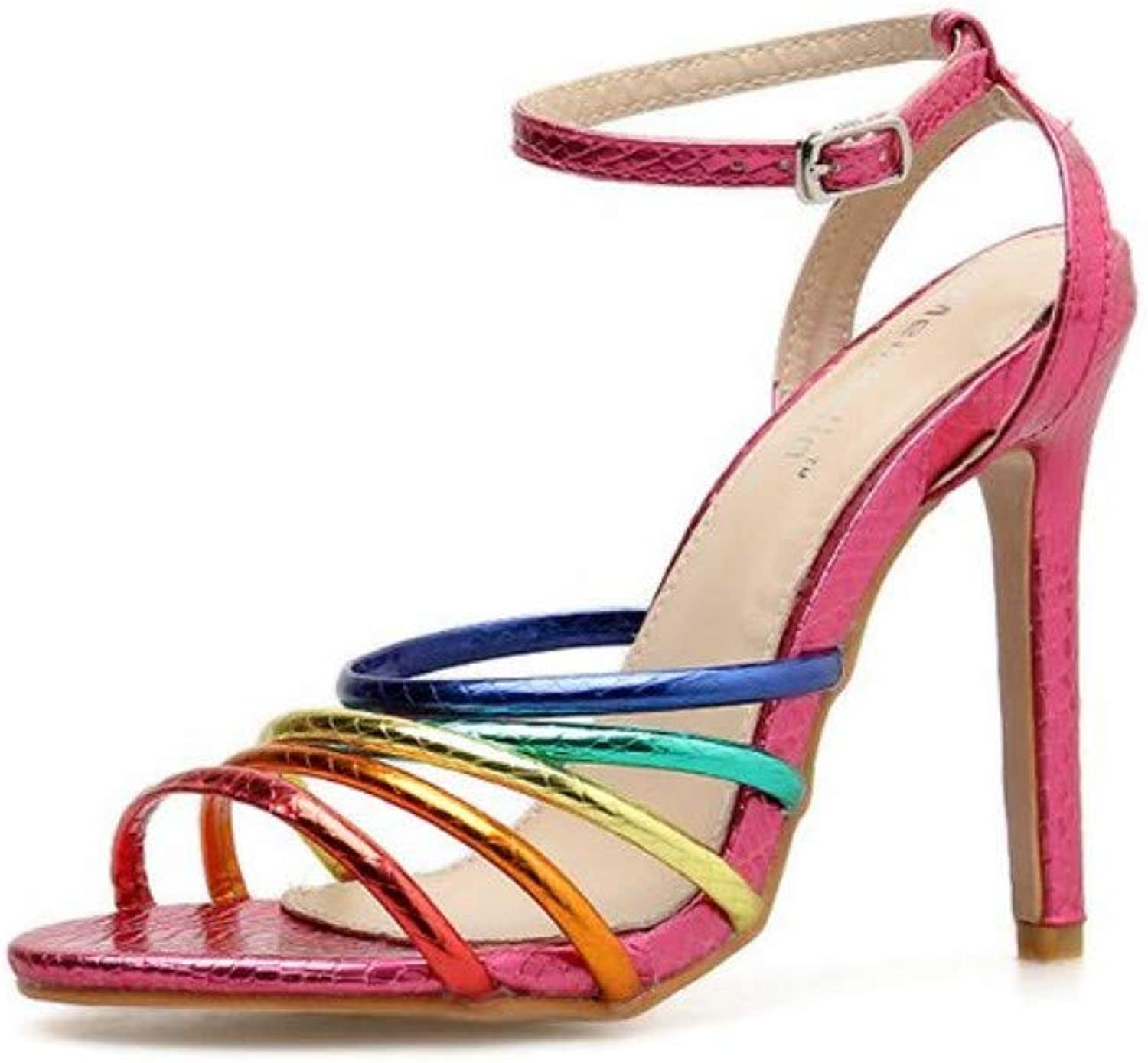 JQfashion Ladies'High-Heeled shoes Ribbons Sexy High-Heeled Sandals Pointed Thin-Heeled color Roman shoes