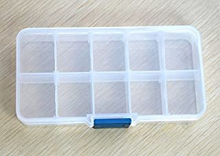 Gotian Storage Case Box Holder Wide Usage Container Portable Pills Jewelry Nail Art Tips 10 Grids for Storing Earrings Rings Beads Pills Drug Medicine