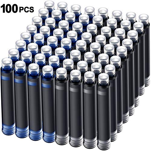 100 Pieces Blue Black Pen Ink Cartridge Fountain Pen Cartridges Refillable Fountain Pen Cartridge, 3.4 mm Bore Diameter