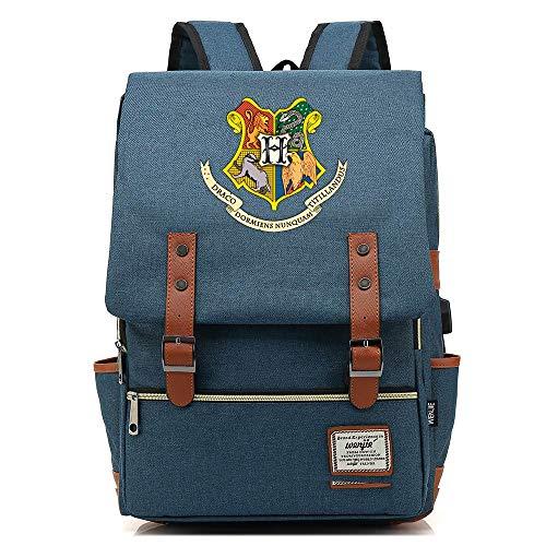 Poudlard College Sac à Dos, Harry-p Laptop Rucksack, avec USB Charging Port,Potter Leisure Travel Bag Grande Bleu foncé