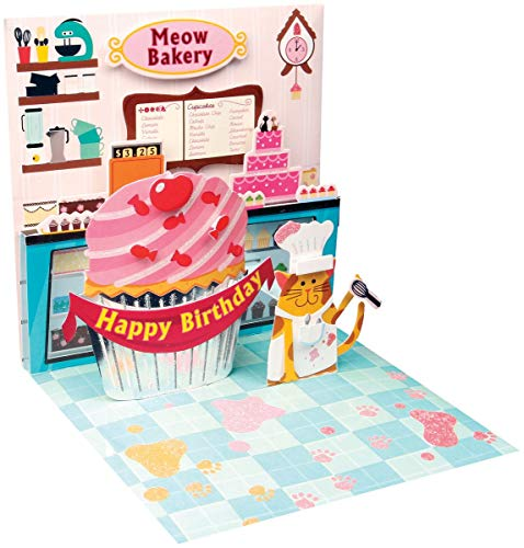 Pop Up 3D Geburtstags Mini Grußkarte PopShot Happy Birthday Kuchen Küche 7,6x7,6cm