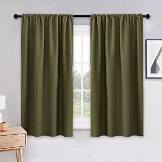 PONY DANCE 45 inches Kitchen Curtains – 42 W x 45 L Olive Green Blackout Curtains..