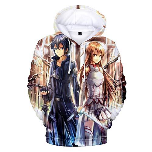Sudadera con Capucha Unisex Sword Art Online 3D Impresa Manga Larga Navidad con Capucha Estampada Camisetas para Puentes-Anime_S
