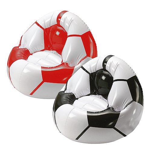 elasto form Aufblasbarer Sessel Fußball Big mit Getränkehalterung für 2 Getränke | Großer Luftsessel für Kinder max. 80 kg Ideales Fußball-Geschenk für Kinder & Erwachsene (schwarz/Weiss)