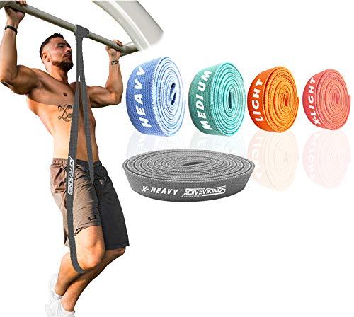 ActiveVikings® Pull-Up Stoff Fitnessbänder - Perfekt für Muskelaufbau und Crossfit Freeletics Calisthenics - Fitnessband Klimmzugbänder Widerstandsbänder (E - Schwarz (X-Heavy))