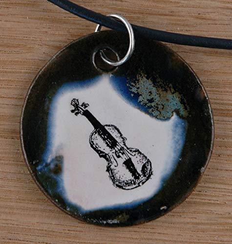 Echtes Kunsthandwerk: Hübscher Keramik Anhänger mit einer Geige; Violine, Streichinstrument, Musiker, Geiger, Fiedel, Violine