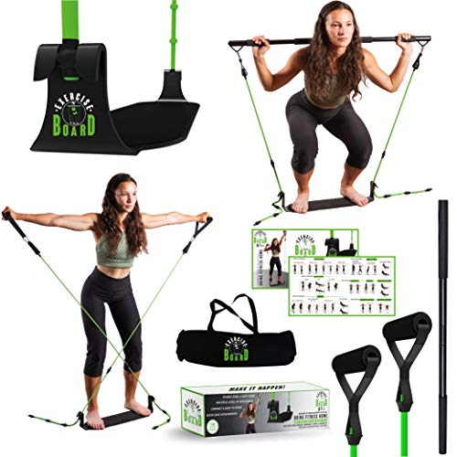 EXERCISE BOARD | Perfect Butt Workout Equipment | Portable Home Workout Equipment For Women | Pilates Bar Kit With Multiple Level Resistance Bands and Toning Bar | Complete Home Gym Equipment