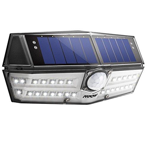 Mpow Luz Solar IP66 Impermeable, Iluminación de 270º, Sensor de Movimiento de 120°, Lámpara Solar de Pared Brillante para Jardín, Entrada, Patio, Garaje (1 Pieza)