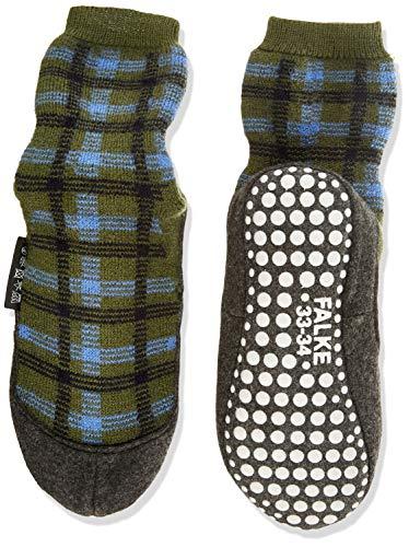 FALKE Unisex Kinder Chequed Cosyshoe K HP Hausschuh-Socken, grün (Forest 7657), 35-36 (9-10 Jahre)