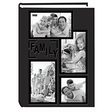 Pioneer Collage Frame Embossed  Family  Sewn Leatherette Cover 300 Pocket Photo Album, Black