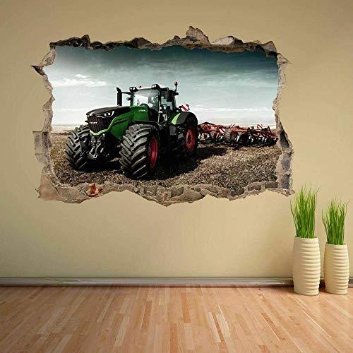 QAW Wandtattoo Farm Traktor Wandaufkleber Wandbild Aufkleber Pflanze Landwirtschaft Maschinen Kinder Jungen Zimmer