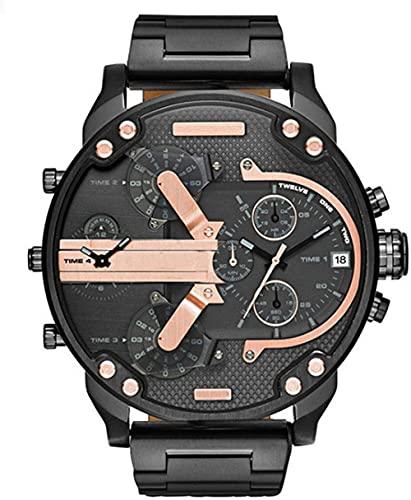 Qiyifang Hombre Reloj con Personalidad Sphere Tendencia Reloj Reloj de Cuarzo con Banda portátil de Acero Inoxidable-C